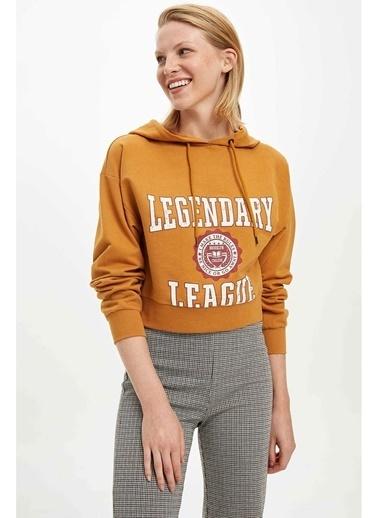 DeFacto Yazı Baskılı Sweatshirt Sarı